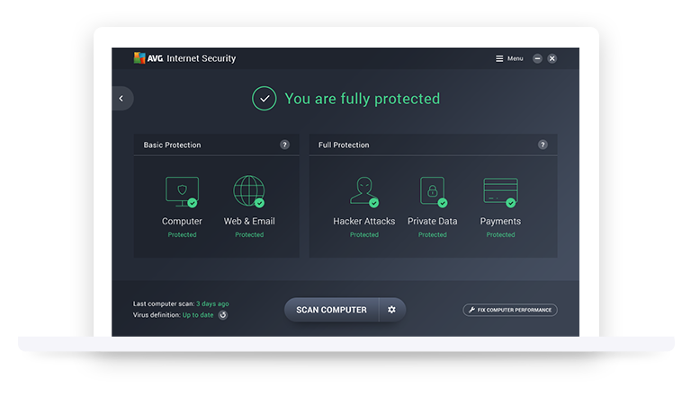 AVG Internet Security Unlimited UI
