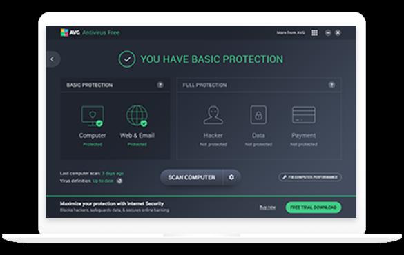 Weißer Laptop mit AVG FREE AntiVirus für PC, 585x370