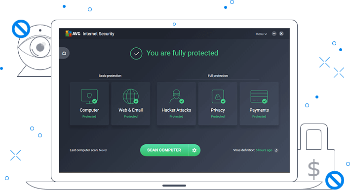 データの安全を知らせる AVG インターネット セキュリティ画面が表示された白いノート PC