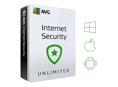 Confezione Internet Security con icone Windows, Android e Mac