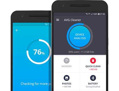 AVG Cleaner Android 版主要儀表板