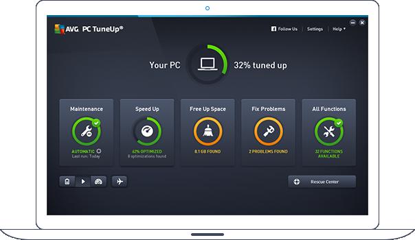 Ovládací panel aplikace PC TuneUp