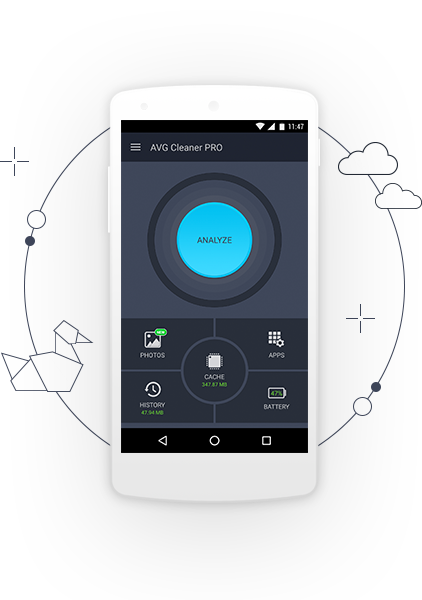 UI do AVG Cleaner PRO - Tela do botão Analisar