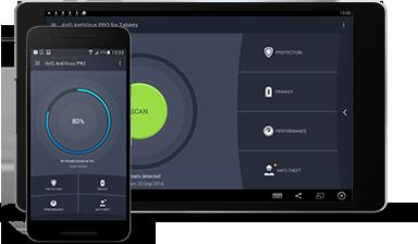 Tablet Android con interfaccia utente di AntiVirus per Android Business Edition