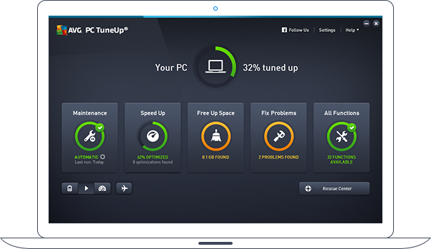 Dashboard van PC TuneUp