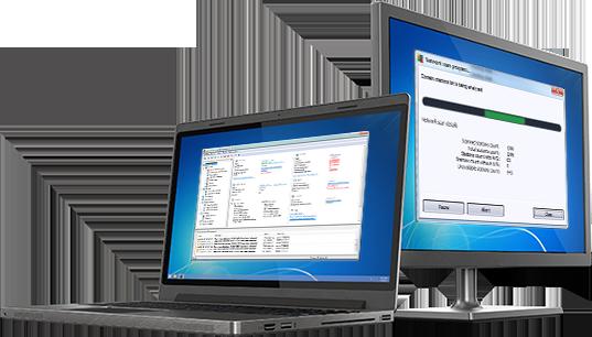 リモート管理 UI が表示されたノート PC と PC
