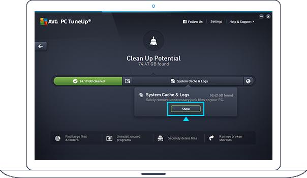 Potentiel de nettoyage PC TuneUp