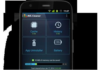 MotorolaG, polovina, uživatelské rozhraní aplikace AVG Cleaner, 380 x 239px