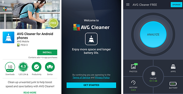 AVG Cleaner, Cleaner FREE, interfejs dla systemu Android, 590 x 305 pikseli