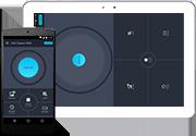 Android 用クリーナーの UI が表示されたスマートフォンとタブレット