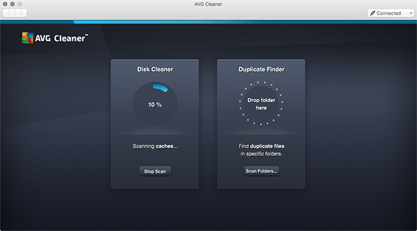 Mac Cleaner - escaneamento do Disk Cleaner em andamento