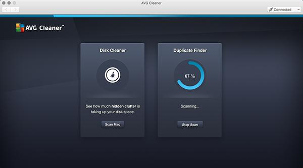 AVG Cleaner para Mac - escaneamento de arquivos duplicados em andamento
