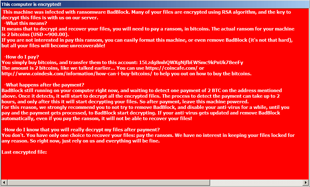 Captura de tela do ransomware BadBlock
