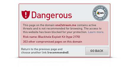 Alerta de Secure Search sobre un sitio web peligroso