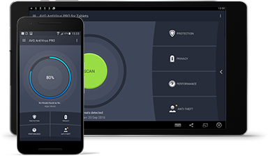 Tablet Android con interfaccia utente di AntiVirus per Android Business Edition