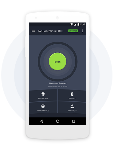White mobile phone with AVG Antivirus for Android FREE green SCAN UI with gray gradient