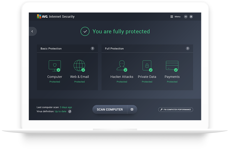 UI Internet Security in white laptop