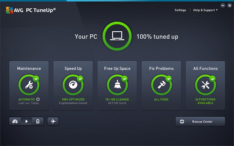 Interfaz de la aplicación de AVG PC TuneUp