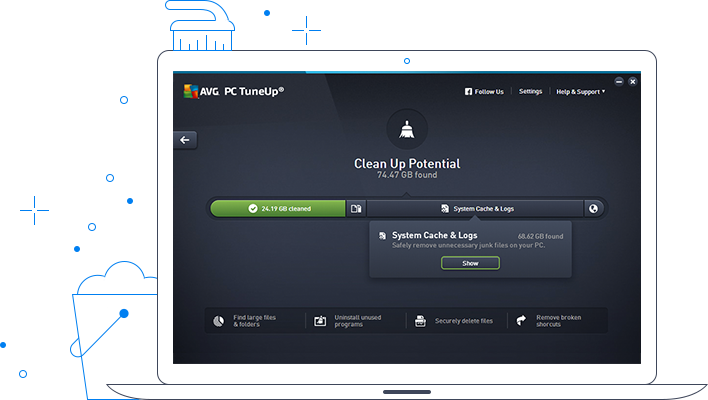 Interfaccia utente di AVG TuneUp - Potenziale di pulizia
