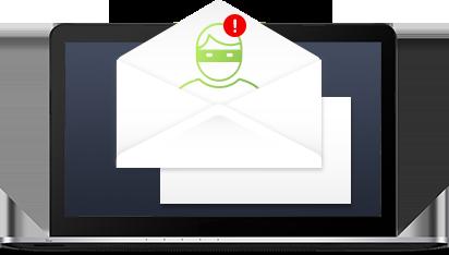 Anti-Spyware - Interfaccia utente notebook con buste