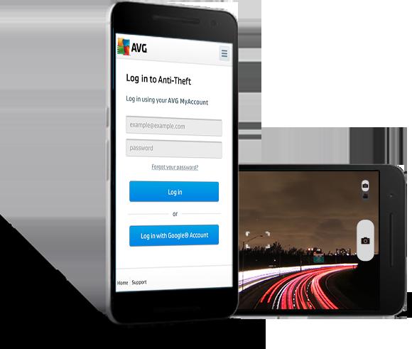 Benutzeroberfläche: zwei Android-Smartphones mit Diebstahlschutz