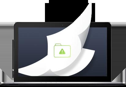 Gebruikersinterface File Server Edition op laptop met notitievellen