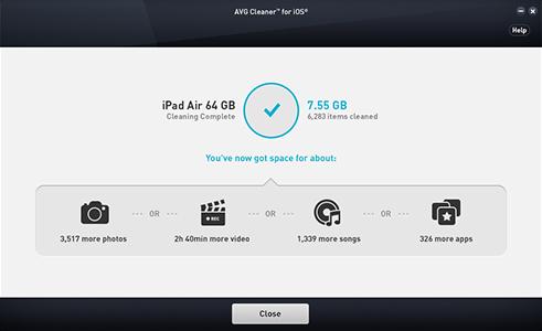 Interfejs użytkownika aplikacji AVG Cleaner dla systemu iOS