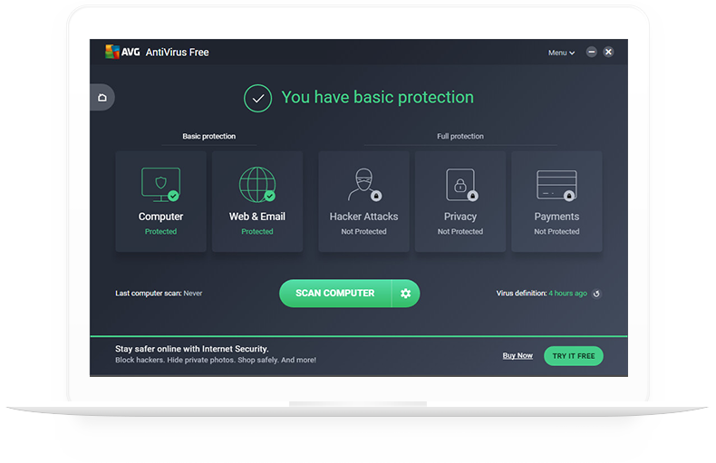 белый ноутбук с AVG AntiVirus Free