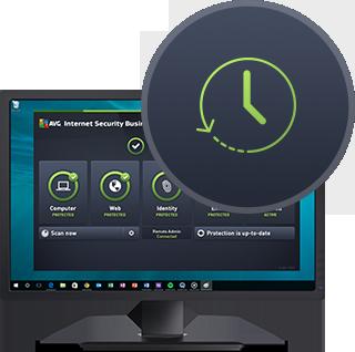 Монитор с интерфейсом актуальной версии программы Internet Security Business Edition