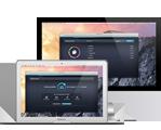 Белый компьютер Macbook с интерфейсом Cleaner
