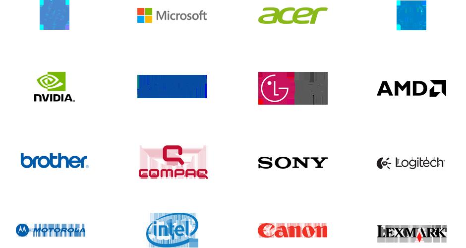 Grafika przedstawiająca 16 marek producentów urządzeń obsługiwanych przez narzędzie Driver Updater