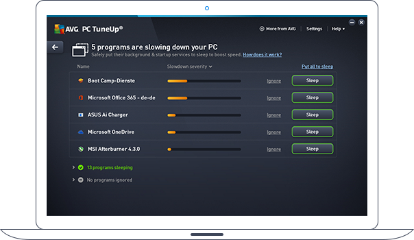 Interface do PC TuneUp com programas que deixam o seu computador lento