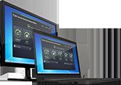 Черный ноутбук и ПК с проверкой работоспособности