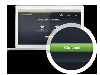 Защита длякомпьютера Mac, третий шаг установки скнопкой «Продолжить»