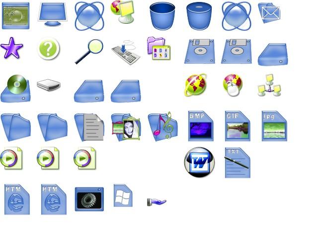 Blue Plastic Icons