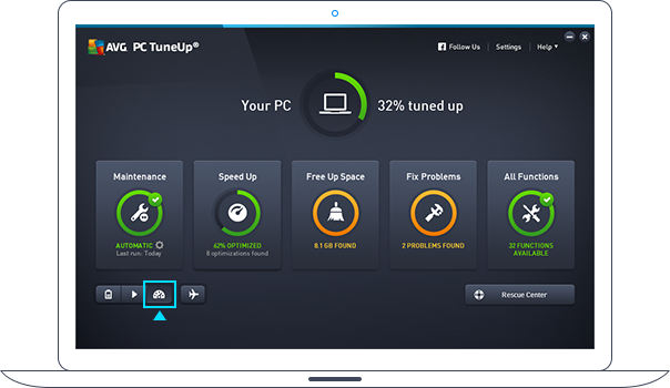 Papan pemuka PC TuneUp dalam Mod Turbo