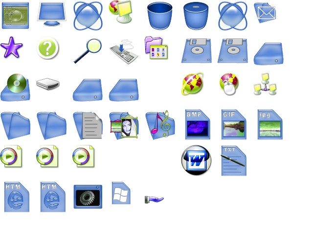 Blue Plastic Icons