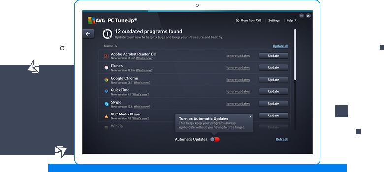 Interface do AVG TuneUp - 12 programas desatualizados encontrados
