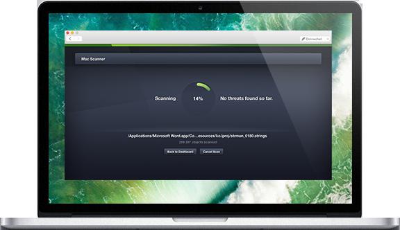 UI de Mac con pantalla de análisis