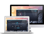 Weißes MacBook mit Cleaner-Benutzeroberfläche