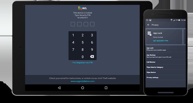 Antarmuka penguncian aplikasi ponsel android and tablet kecil