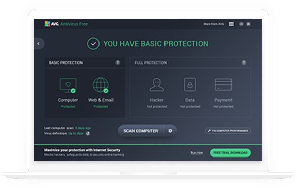 biely notebook s AVG AntiVirus FREE pre Windows – 585 x 370