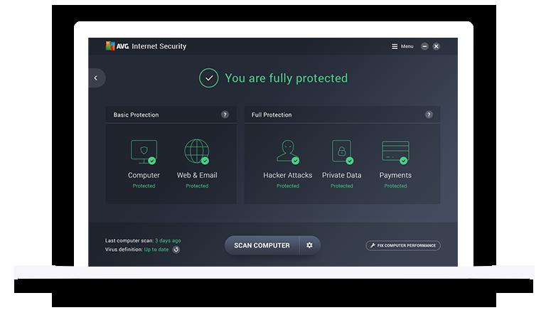 Gebruikersinterface van AVG Internet Security Onbeperkt