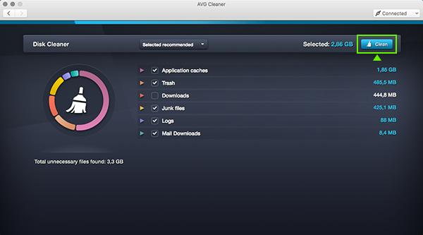 Používateľské rozhranie AVG Cleaner pre Mac – výsledky kontrol čistenia disku