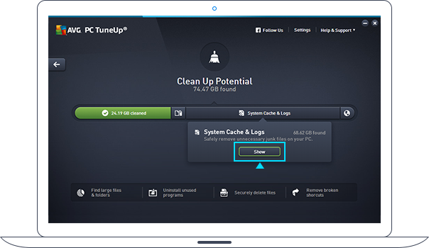 Oppryddingspotensial for PC TuneUp