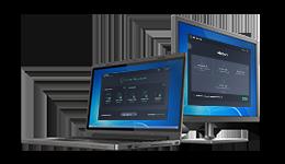 Laptop en beeldscherm met Antivirus Business Edition