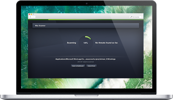 Gebruikersinterface scanscherm op Mac