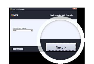 """Fenster des AVG-Installationsprogramms mit Detailansicht der Schaltfläche """"Fortfahren"""""""