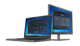 Laptop e monitor con AVG AntiVirus Business Edition