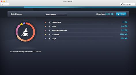 AVG Cleaner pour Mac, interface utilisateur de Disk Cleaner